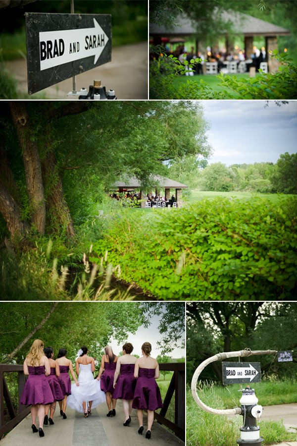Outdoor real wedding in Colorado- purple and black and white damask wedding theme