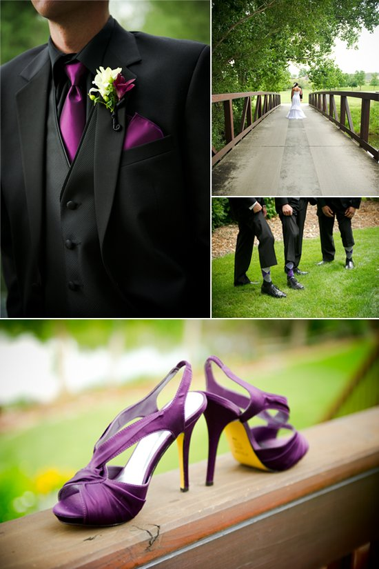 Groom wears black tuxedo, purple tie to match with bride's purple wedding shoes
