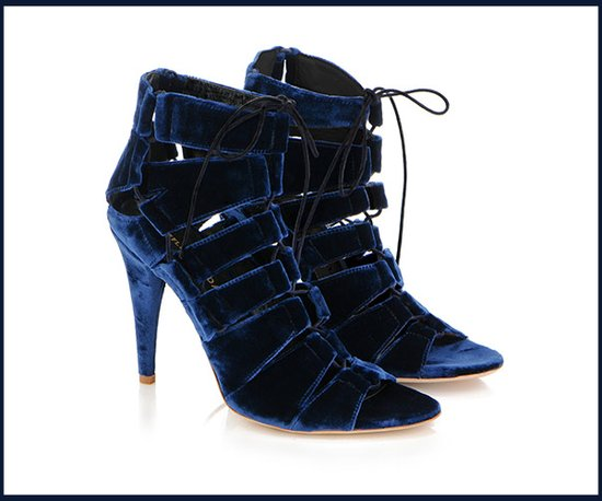 Blue velvet wedding heels by Loeffler Randall