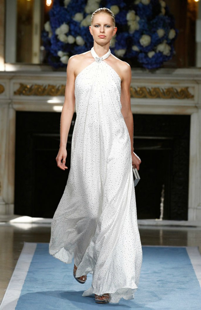 Grecian-inspired halter wedding dress by Salvatore Ferragamo