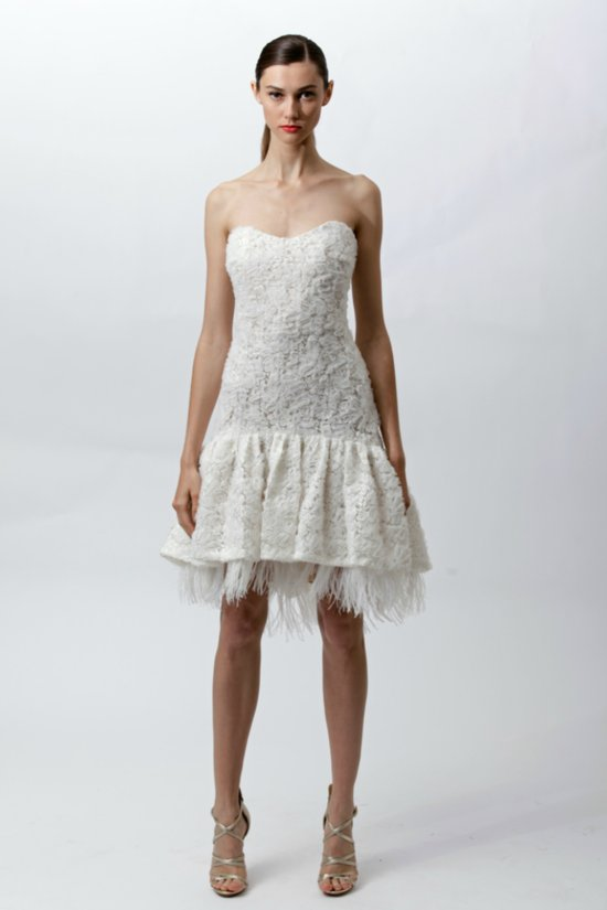 Winter wedding reception dress by Badgley Mischka