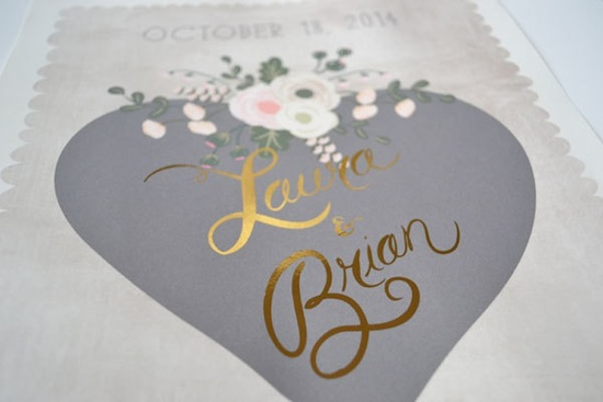 romantic custom wedding sign with gold foil calligraphy