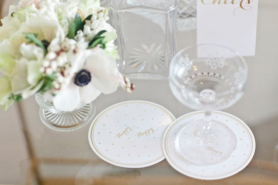 gold foil wedding coasters
