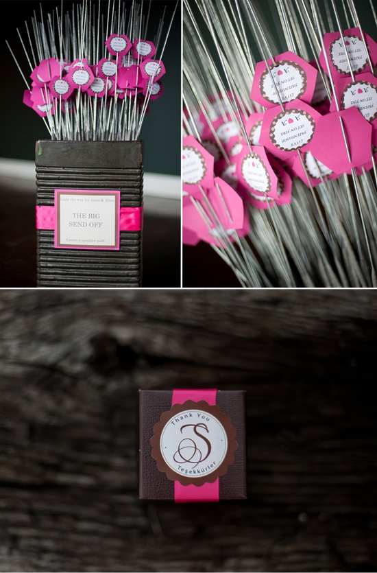 Pink and brown wedding guest favors