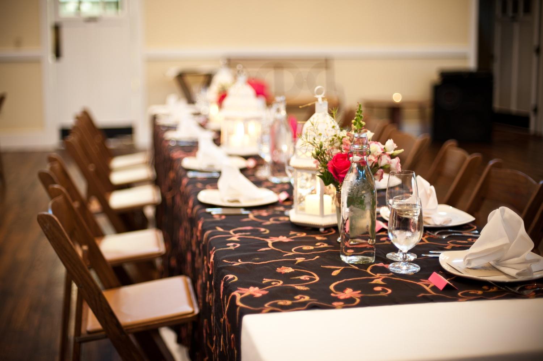 Rustic chic wedding reception tablescape for Indoor wedding reception decorations