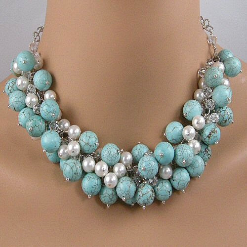 turquoise, white pearl and clear crystal statement necklace
