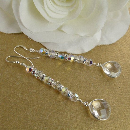 clear crystal briolette, rondelle and crystal bridal earrings - 3
