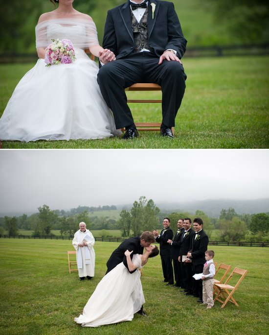 After saying I Do, groom dips bride and kisses her