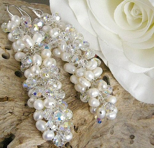 white fwp and crystal cluster bridal earrings