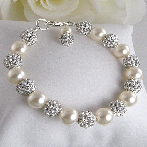 ivory pearl and pave bridal bracelet