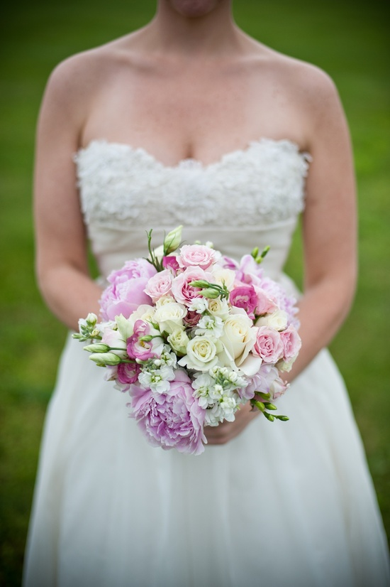 Virginia bride wears strapless wedding dress, holds romantic bridal bouquet