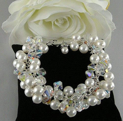 pearl and bicone crystal cluster bridal bracelet - 1