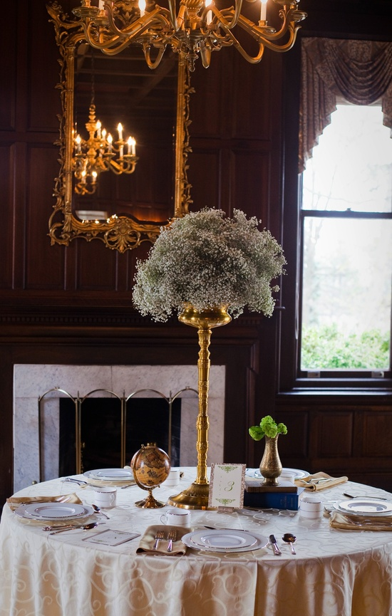 High wedding centerpiece of baby's breath