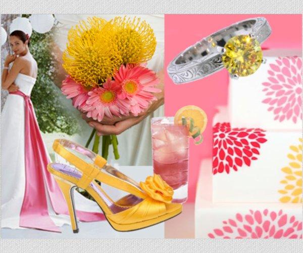 Summer-wedding-ideas-pink-yellow-wedding-colors-decor-wedding-dress.full