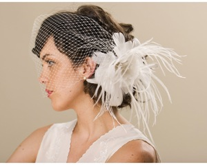 photo of Feather and silk bridal fascinator