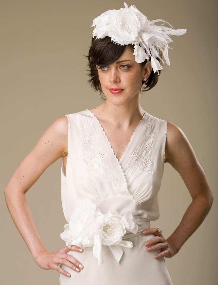 photo of Romantic and whimsical white wedding hat