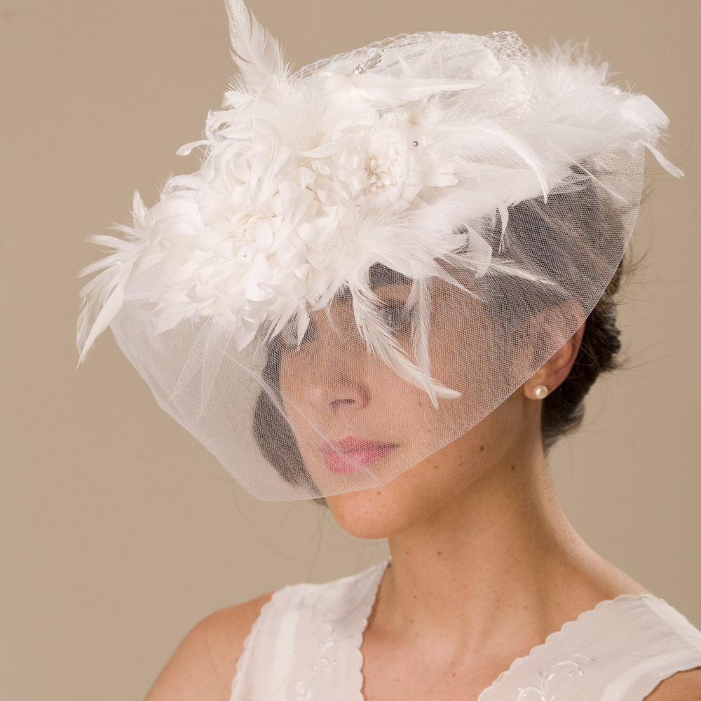 Vintage Inspired Feather Adorned Wedding Hat