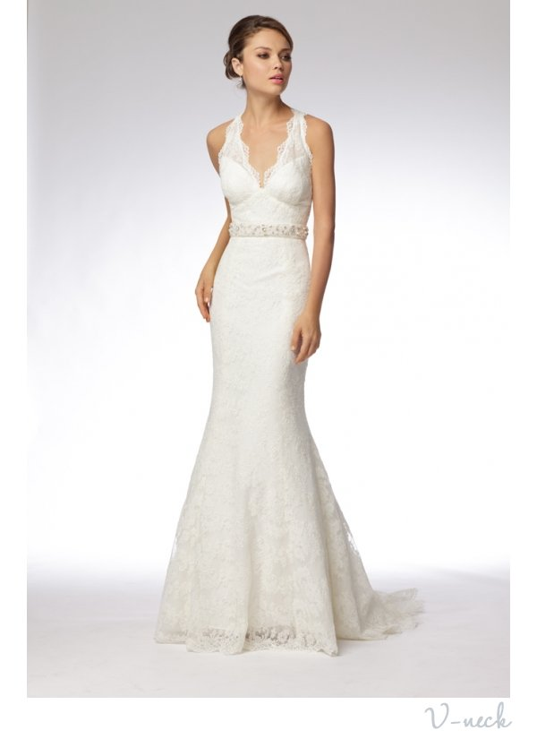 v neck mermaid wedding dress