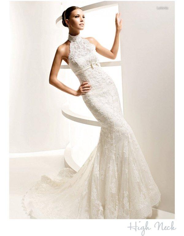 High neck wedding dress by la sposa for Wedding dress with high collar