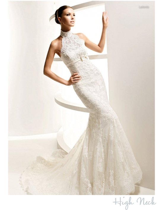 High neck wedding dress by La Sposa