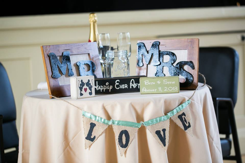 Mr and Mrs table decor
