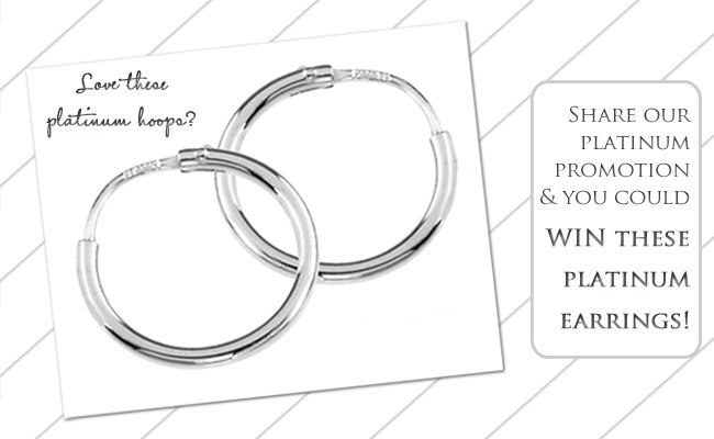 WIN platinum and diamond wedding bands, or timeless platinum hoop earrings!