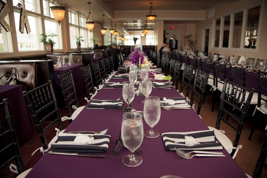 Black, ivory and purple wedding reception decor