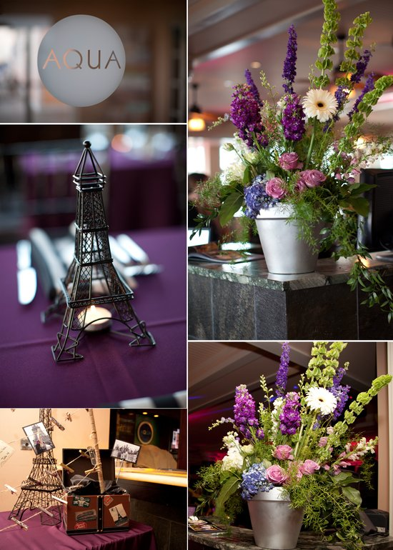 Rustic wedding flower centerpieces, Paris-themed wedding decor