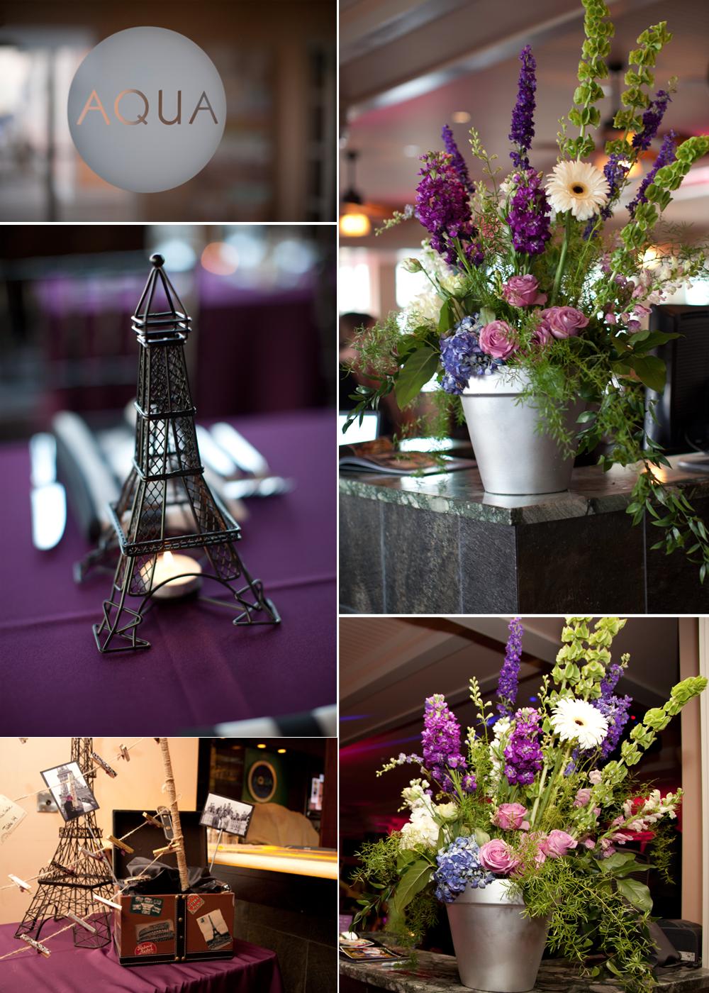 Rustic wedding flower centerpieces, Paris-themed wedding ...