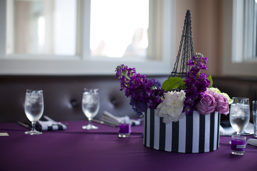 Purple and ivory paris themed wedding elegant floral centerpieces junglespirit Image collections