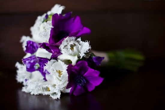 Elegant purple and ivory bridal bouquet