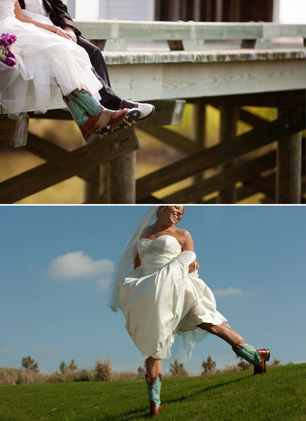 Bride-wears-ivory-wedding-dress-cowboy-boots-poses-with-groom.full