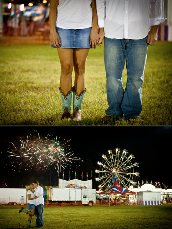 Carnival-themed engagement photo session- bride wears cowboy boots