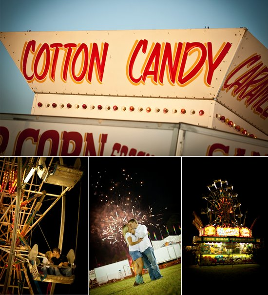 Carnival-themed engagement photo session