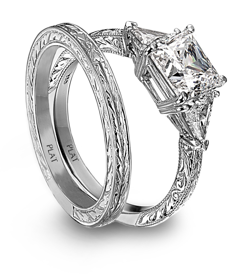 princess cut platinm and engagement ring and