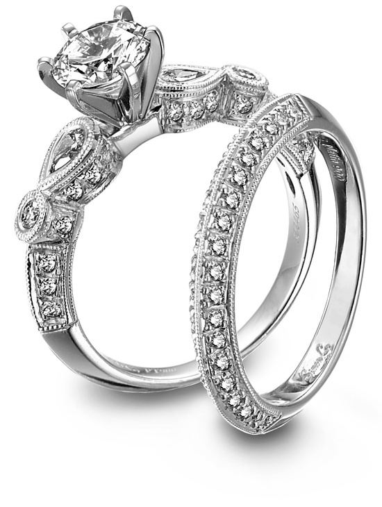 Diamond and platinum engagement ring and wedding band set by Simon G