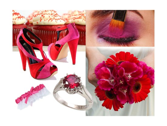 Hot pink and red vibrant wedding color palette
