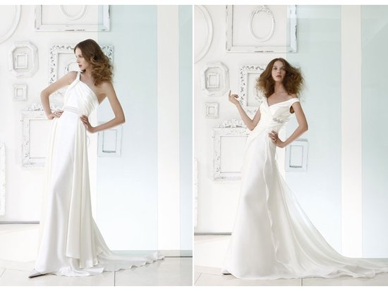 Slinky silk wedding dresses with crystal embroidery