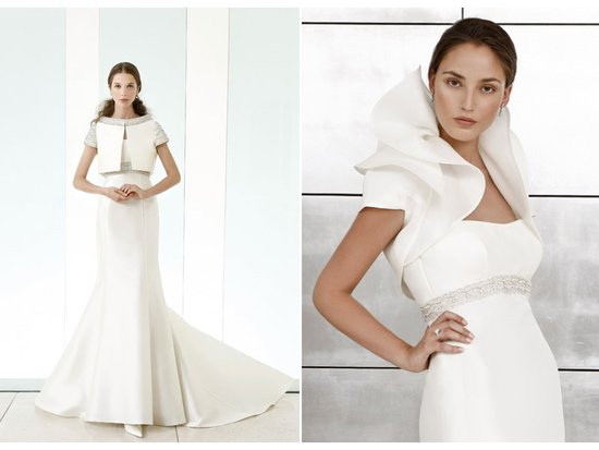 Sleek white wedding dresses with sleeves and ruffled bolero