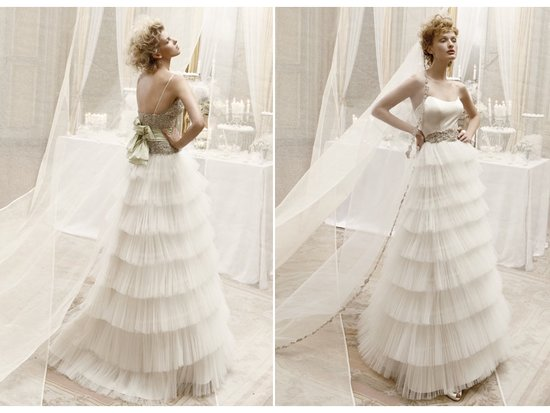 Tulle wedding dress with tiered skirt