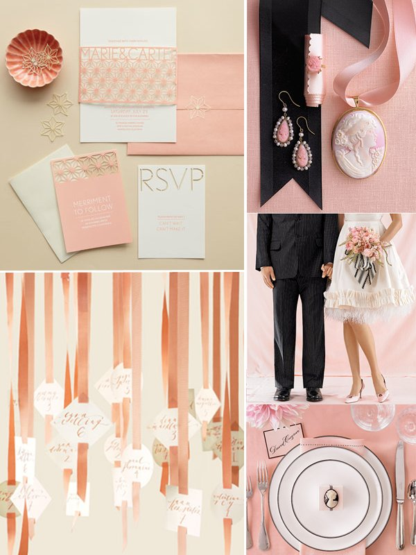 Black, peach and ivory wedding decor, flowers and wedding invitations