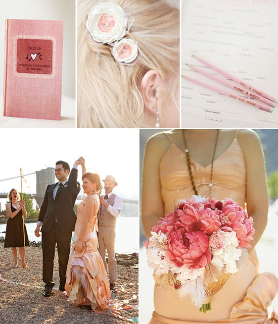 Peach and ivory romantic wedding color palette and inspiration