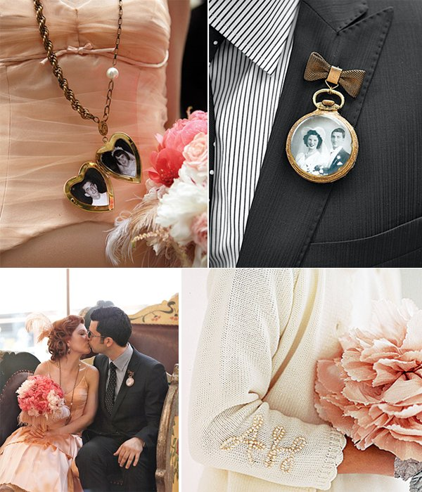 Peach-ivory-black-wedding-colors-feather-bridal-bouquet-wedding-dress.full