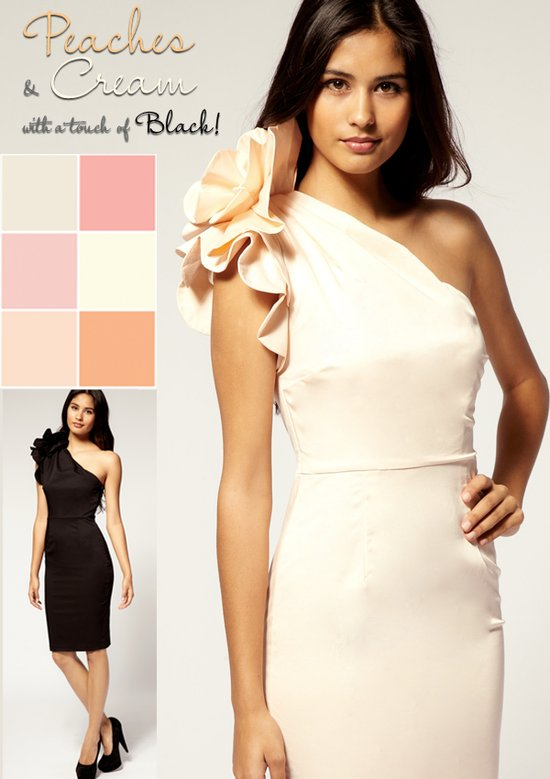 photo of Peaches and cream with black wedding inspiration, bridesmaid dress via Asos