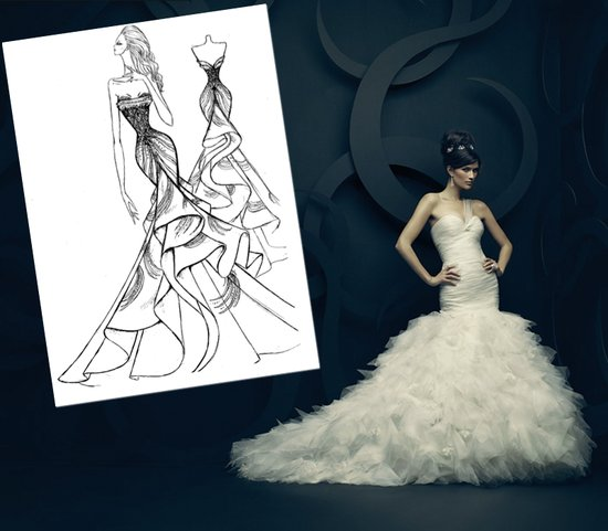 Ines di Santo's interpretation of Kim Kardashian's wedding dress