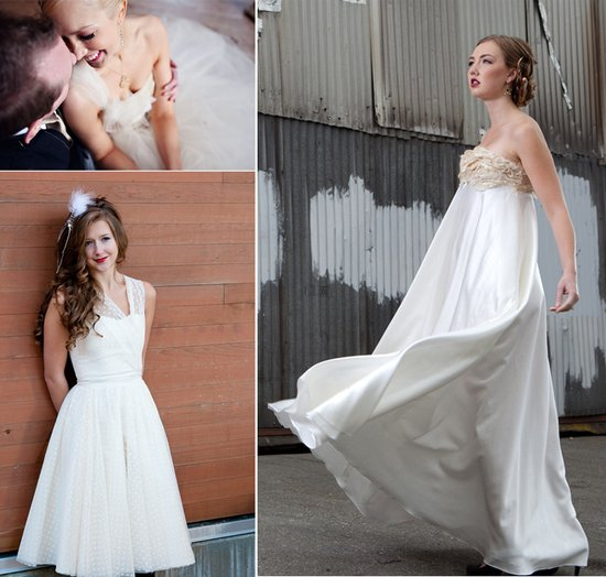 Eco-friendly empire wedding dress with gold embellished bodice