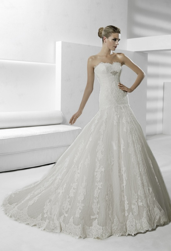 Gorgeous lace modified mermaid strapless wedding dress