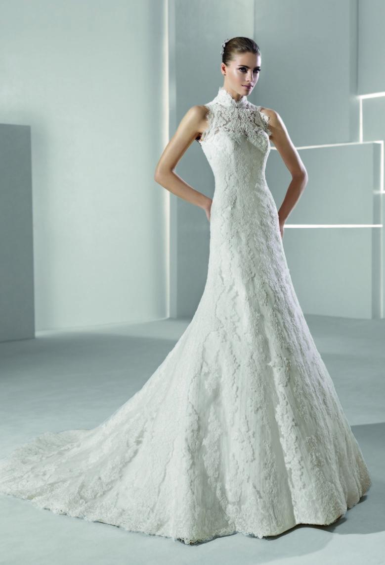 High neck lace mermaid wedding dress for High collar wedding dress
