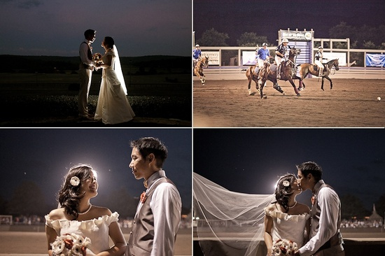 Bride and groom's first dance, polo match at wedding reception