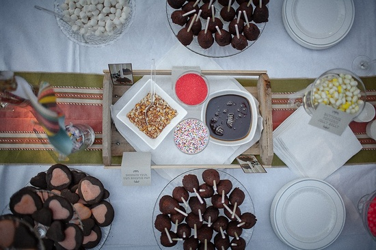 Colorful candy bar at outdoor real summer wedding